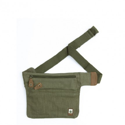 Hemp belt bag chaki-PURE